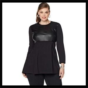 Melissa McCarthy Seven7 Faux Leather Missy Top
